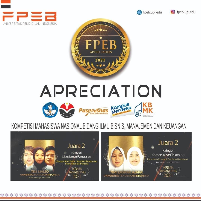 Mahasiswa FPEB UPI Raih Juara 2 Tingkat Nasional Kompetisi Ilmu Bisnis, Manajemen dan Keuangan (KBMK) Tahun 2021