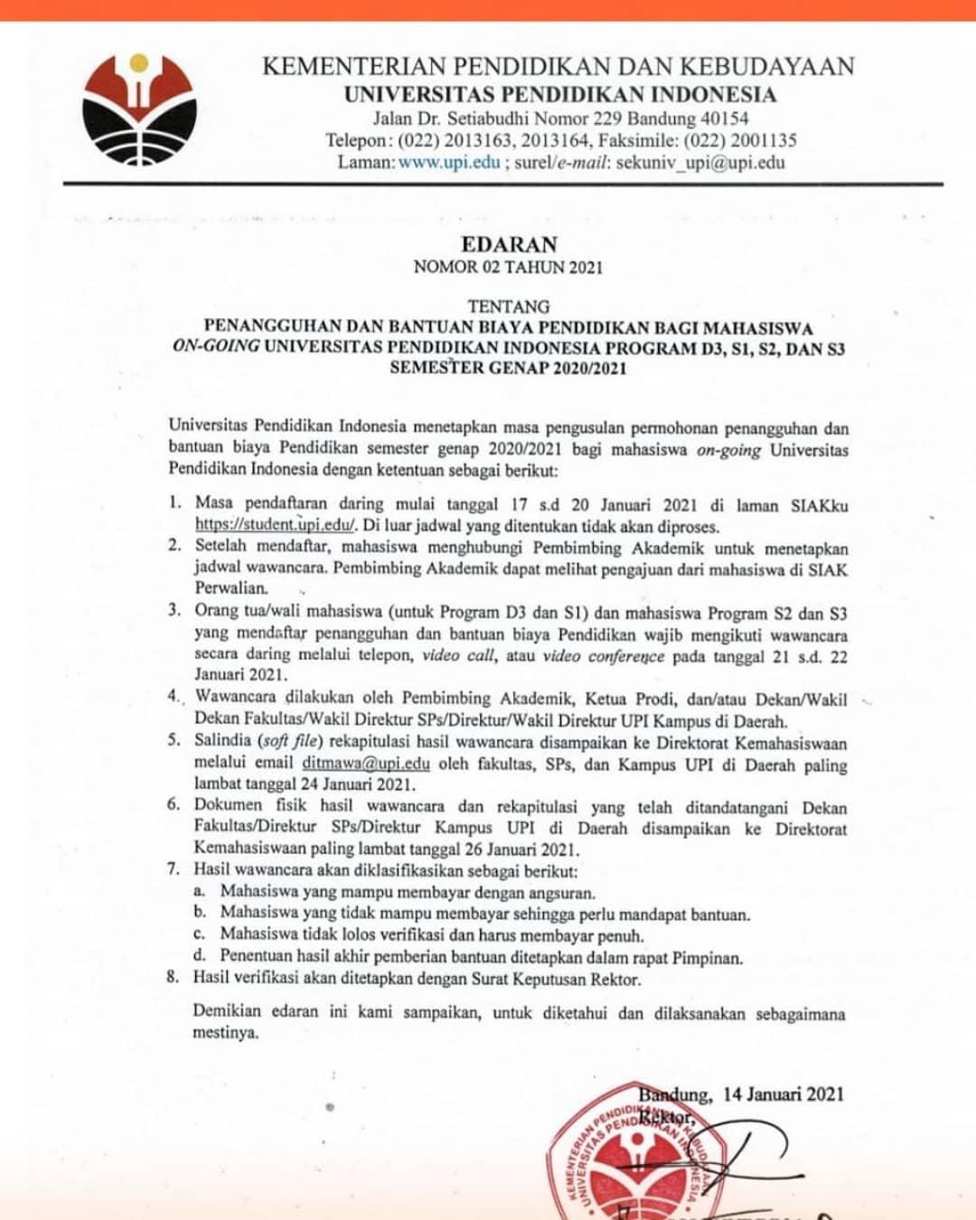 PENANGGUHAN DAN BANTUAN BIAYA PENDIDIKAN BAGI MAHASISWA ON-GOING UPI